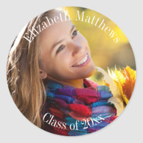 Photo Name and Class Year Graduation Classic Round Sticker