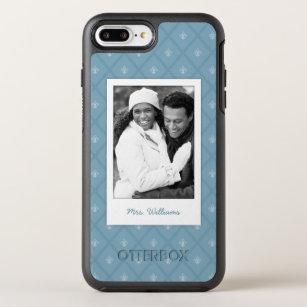 Photo & Name Fleur-de-lis pattern OtterBox Symmetry iPhone 8 Plus/7 Plus Case