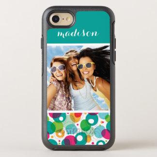 Photo & Name Round bubbles kids pattern OtterBox Symmetry iPhone 7 Case