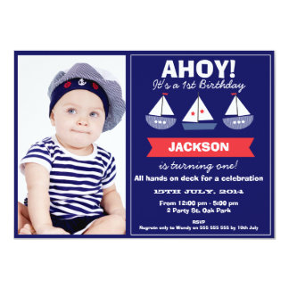 Photo Nautical Sail Boats Birthday Invitation