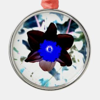 Photo Negative Daffodil Metal Ornament