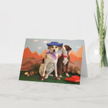 photo of 2  affectionate dogs with cowboy hats card