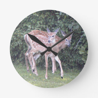 Photo of 2 cute fawns round clock