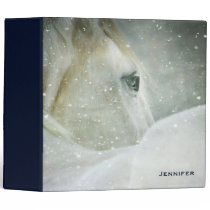 Photo of a Beautiful White Horse in Winter 3 Ring Binder