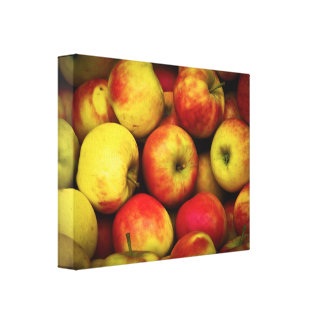 Photo of a Bushel Of Yellow and Red Apples Canvas Print