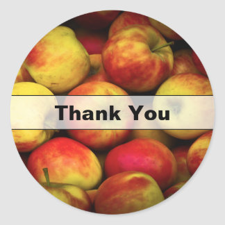 Photo of a Bushel Of Yellow and Red Apples Thanks Classic Round Sticker