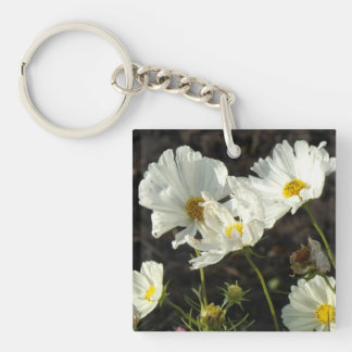 Photo of a Flower Bed of White and Gold Daisies Keychain