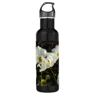 Photo of a Flower Bed of White and Gold Daisies Stainless Steel Water Bottle