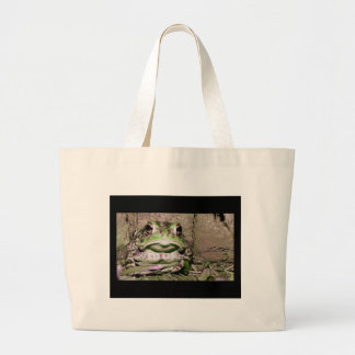 Photo of a funnycolorful fat toad frog tote bag