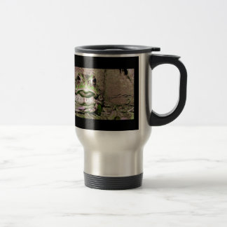 Photo of a funnycolorful fat toad frog travel mug