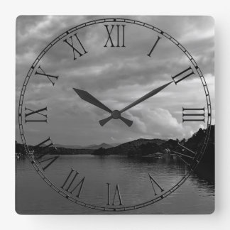 Photo of a Lake Landscape in North Carolina Square Wall Clock