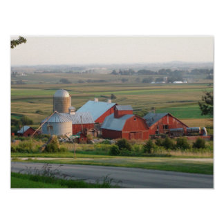 Photo of a Midwest Farm in Platteville, Wisconsin Poster