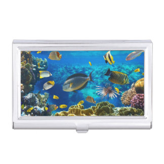 Photo of a tropical Fish on a coral reef Business Card Case