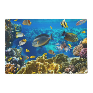 Photo of a tropical Fish on a coral reef Laminated Place Mat