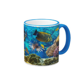Photo of a tropical Fish on a coral reef Ringer Coffee Mug