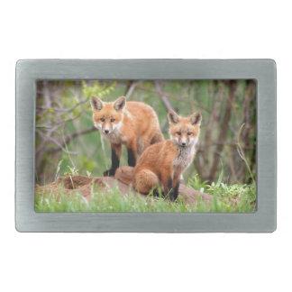 Photo of adorable red fox kits rectangular belt buckle