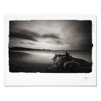 Photo of black and white seashore