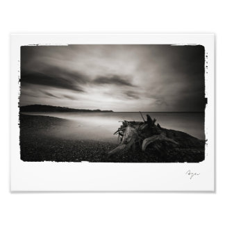 Photo of black and white seashore