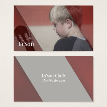 Professional Business Photo of Boy Playing Guitar Musician Business Card