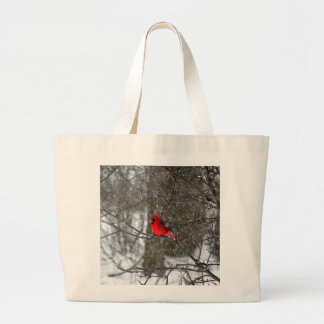 Photo of bright red cardinal on tote bag