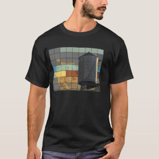 Photo of colorful wall and water tower. T-Shirt