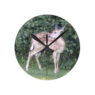 Photo of cute baby deer round clock