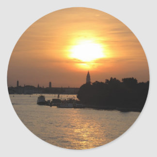 Photo of dramatic Sunset in Venice laguna, Italy Classic Round Sticker