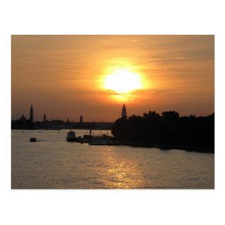 Photo of dramatic Sunset in Venice laguna, Italy Postcard