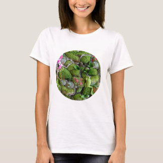 photo of fabric frog in embroidered mossy setting T-Shirt