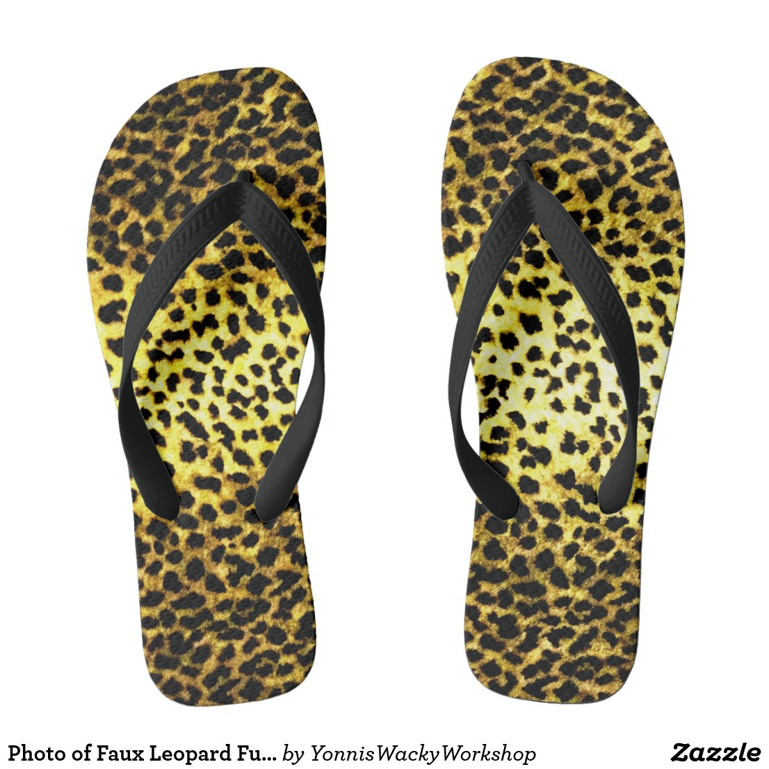 Photo of Faux Leopard Fur Print Wallpaper Flip Flops