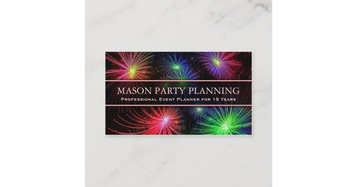 Photo of Fireworks Party Planner - Business Card | Zazzle.com