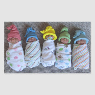 Photo of Five Clay Babies: Polymer Clay, Swaddled Rectangular Sticker