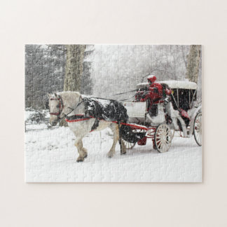 Photo of Horse and Buggy in Central Park Winter Jigsaw Puzzle
