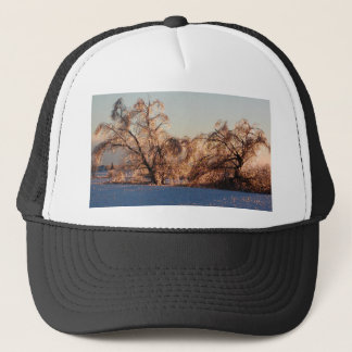 photo of ice-covered trees trucker hat