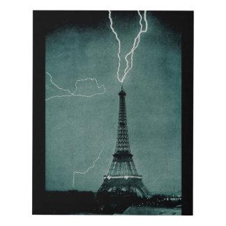 Photo of Lightning Striking the Eiffel Tower Panel Wall Art