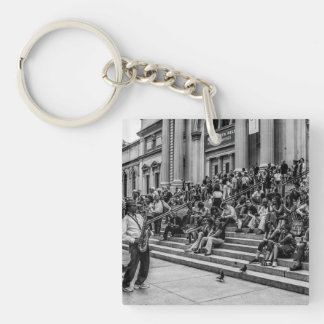 Photo of New York City Street Musician Performer Single-Sided Square Acrylic Keychain