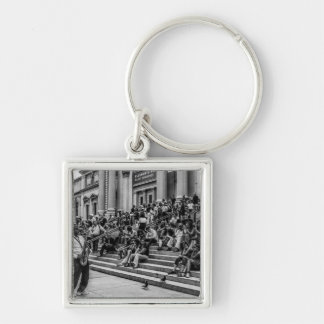 Photo of New York City Street Musician Performer Silver-Colored Square Keychain