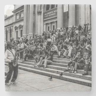 Photo of New York City Street Musician Performer Stone Coaster