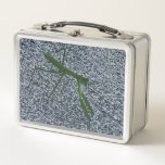 """Photo of Praying Mantis Insect Lunch Boxes<br><div class=""""desc"""">These metal lunch boxes feature a photo of a green praying mantis walking on the sidewalk. The closeup photo gives the sidewalk a textured gray pattern look behind the insect. The photo is printed on both sides. Thank you for shopping CherylsArtPhotos on Zazzle.</div>"""