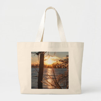 photo of river after an ice storm large tote bag