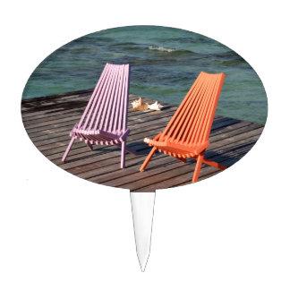 Photo of seaside chairs cake pick