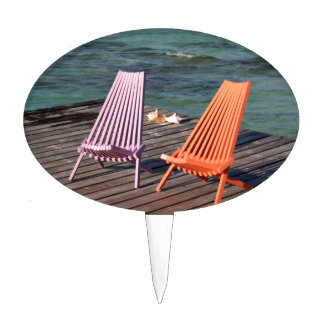 Photo of seaside chairs cake topper