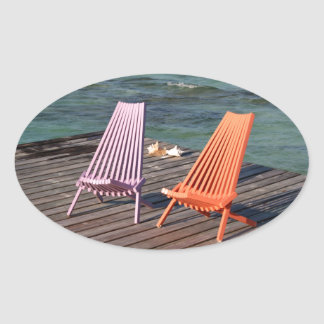 Photo of seaside chairs oval sticker