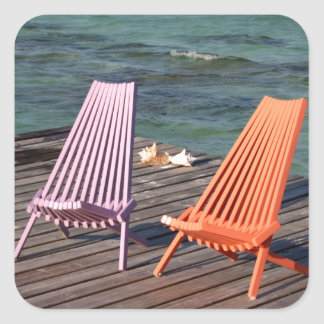 Photo of seaside chairs square sticker