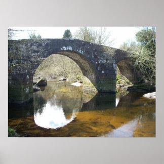 Photo of stone bridge over tranquil stream poster