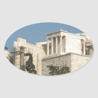 Photo of the Ancient Greek Parthenon from afar Oval Sticker