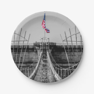 Photo of the Brooklyn Bridge in NYC 7 Inch Paper Plate