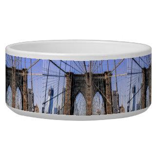 Photo of the Brooklyn Bridge in NYC Pet Food Bowls