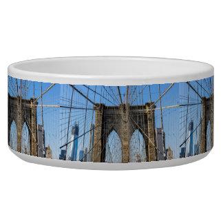 Photo of the Brooklyn Bridge in NYC Dog Bowls