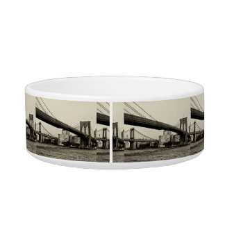 Photo of the Brooklyn Bridge in NYC Pet Water Bowls